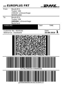 Voorbeeld DHL verzendlabel
